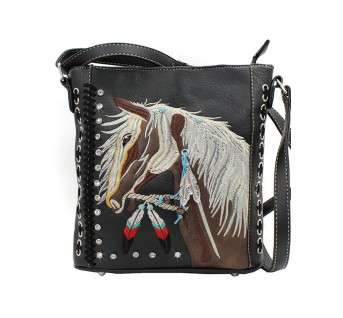 Embroidered Horse Purse