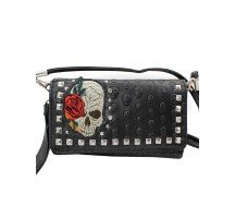 Embroidered Skull Wallet Clutch
