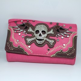 Embroidered Skull Wallet Clutch Pink