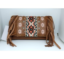 Southwestern Fringe clutch Brown