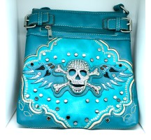 Embroidered Skull Purse