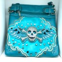 Embroidered Skull Purse Blue