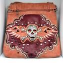Embroidered Skull Purse Peach