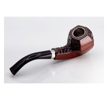 Engraved – Plastic Resin Pipe – Brown w/ Silver Band